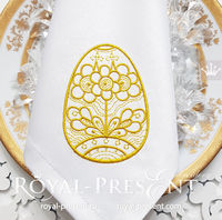 Gold Easter Egg Machine Embroidery Design - 3 sizes $3.5