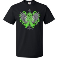Make a strong impression for Lyme Disease Awareness with our stand-out tattoo style design on shirts, apparel and gifts featuring an awareness ribbon with swirl etchings attached to fighter wings with grunge elements for activism