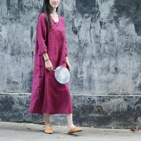 Womens dresses, Purple linen dress, Midi dress, Buttoned dress, Vintage dress, kaftan dress, Autumn dress, 3/4 sleeve dress