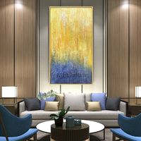 Abstract Acrylic painting yellow painting on canvas extra Large Modern abstract Texture Wall Art Decor Picture for living room Hallway Decor $89.00