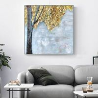 Original Tree acrylic paintings on Canvas heavy texture Abstract extra large Gold leaf Wall Art Pictures for living room Home Decor caudros $104.70
