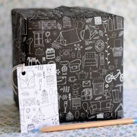 Illustrations on Black ($8): Speaking of hand-drawn, how cool is these seemingly random collection of illustrations on one roll of wrapping paper?