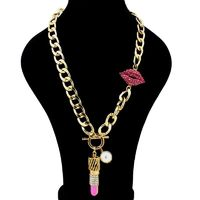 Red Lip Metal Chain Necklace Unique Design Pendant For Women R288.00
