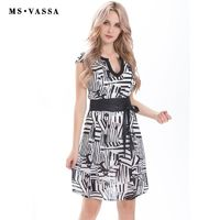 MS VASSA Women Dress Bohemian Summer casual dress short sleeve vintage print O-neck with opening knee length ladies loose dress $78.59