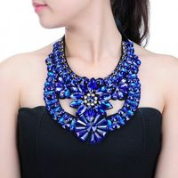 Fashion Pendant Chain Crystal Glass Choker Chunky Statement Bib Necklace Jewelry