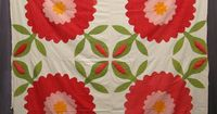 """Top , c.1920 rose of sharon, very folky/exaggerated. 84"""" square"""