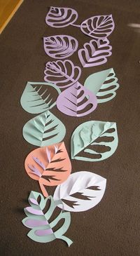 super first week/fall activity - 5th grade into to symmetry - one as group, rest have students'create' their own leaves and colors