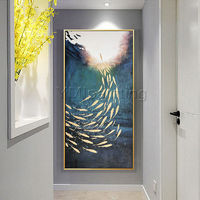 Gold fish ocean Abstract paintings on Canvas Original art acrylic heavy texture extra large wall art framed painting cuadro abstracto $161.25