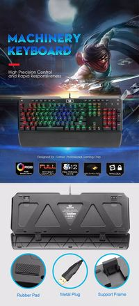 Redragon K555 104 Keys NKRO USB Wired Blue Switch RGB Backlight Mechanical Gaming Keyboard with Wrist Pad for PC Laptop