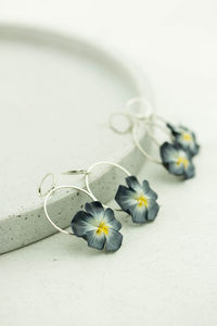 Blue White Yellow Dangle Pansy Pansies Earrings $30.00