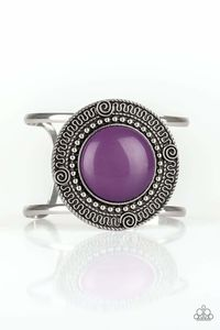 Paparazzi Tribal Pop - Purple Bead Center Round Filigree Silver Frame Cuff Bracelet $5.00