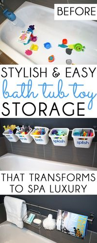 GREAT FOR KIDS & ADULTS! Stylish bathtub toy storage that allows water to drain and toys to dry properly. Easily converts to luxurious organization for guests.