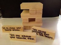 Conversation Jenga by somethingtotalkabout: This is a great icebreaker or game to practice conversing socially, listening, asking questions, and turn-taking. #Jenga #Conversation