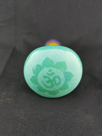 Purple, Yellow and Teal OM Symbol Glass Tobacco Pipe $40.00