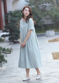 Women's pea green color short sleeve shirt dress,Short Sleeves Midi Dresses Soft Long Robes Plus size dress,Oversized dress