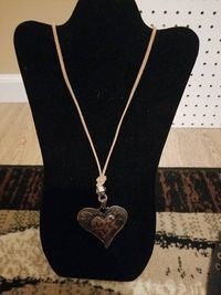 Hobo Chic Copper Heart Light Brown Leather Necklace $5.00