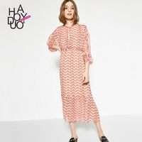 Vogue Sweet Printed Hollow Out Bishop Sleeves Summer Tie Dress - Bonny YZOZO Boutique Store