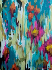 "turquoise and orange abstract--18x24 acrylic abstract painted on 1 1/2"" gallery wrapped canvas"