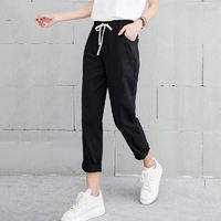 Price: $23.09 | Product: New Women's Casual Spring Autumn Long Solid Elastic Waist Cotton Linen Trousers | Visit our online store https://ladiesgents.ca
