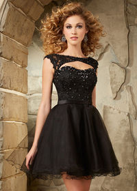 New Style 2015 Beaded Lace Cap Sleeves Cut Open Back Homecoming Dress