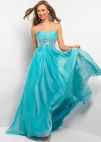 Blue Strapless Sweetheart Cocktail Evening Dresses