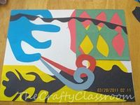 "Artist: Henri Matisse Project: Construction Paper Collage...Layer various cut-out pieces of bright construction...also teaches them how to use the ""negative"" of their cut-outs..."