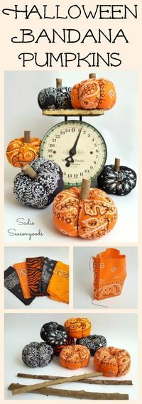 Repurpose and Upcycle a vintage orange or black bandana into a low sew easy to make DIY fabric pumpkin for Halloween. Super easy craft project to make and just adorable autumn project, to boot. Plus, the stem is made from yard debris!! Happy Halloween fro...