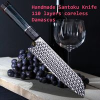 Handmade Chef Knife Damascus Steel Santoku Knife Cooking Tools Chef's Gift Kitchen Knives $179.00