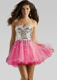 Fuchsia Layered Tulle Strapless Sequined Short Prom Dresses
