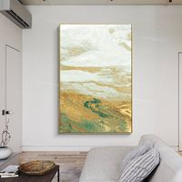 Framed wall art Gold painting Abstract Acrylic Paintings on Canvas original art sea wave painting extra Large wall pictures $116.47