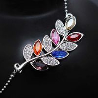 promotion gold color Austrian Crystal rhinestones Leaf Pendant Chain chocker Necklace fashion jewelry £1.79