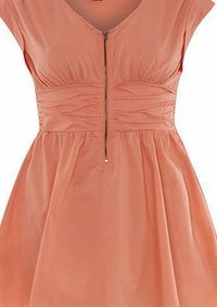 Dorothy Perkins Womens Izabel London Light Orange Gathered Light Orange gathered zip detail dress. V neckline. Sleeveless. Zip fastening. Length 86cm. 95% Nylon,5% Elastane. Cold hand wash. Do not dry clean. http://www.comparestoreprices.co.uk/wom...
