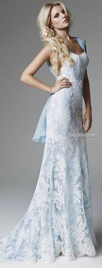Blue Wedding dress, with white lace overlay!