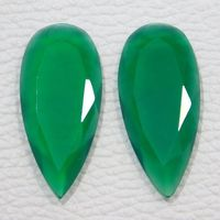 34x15x3 MM Approx ! Natural Green Onyx Faceted Gemstone Loose Onyx Cabochon 16.00 Ct Green Onyx Matched Pair Super Quality Onyx Faceted $28.36