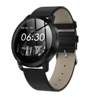 Bakeey CF18 Leather Steel Band Heart Rate Blood Pressure Fashion Female Male Smart Watch
