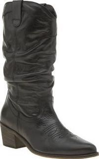 Schuh Black Road Runner Womens Boots The Western silhouette is one of AW hottest trends; make sure youre kitted out with the Road Runner from schuh. The black leather cowboy boot features western-inspired overlay and stitch detail, sitti http://www.compar...