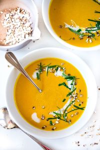 A delicious healthy recipe for Thai Sweet Potato Soup with coconut, lemongrass and ginger....light and tasty! Vegan and Gluten free!