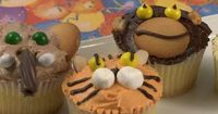 Jungle Animal Cupcakes | Watch how to make wildly fun animal cupcakes the kids will go ape for! Giraffes, tigers, monkeys, and elephants.
