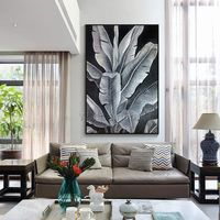 Modern art Abstract paintings on canvas original art black leaf acrylic painting wall pictures cuadros abstractos hand painted home decor $123.75