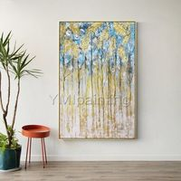 Gold art blue tree abstract acrylic paintings on canvas original art extra large Wall Art home decor wall Pictures decor cuadro abstracto $139.00