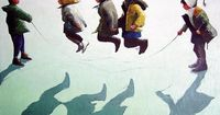 childhood boys girls drawing retro hopscotch summer game Painting by Dima Dmitriev