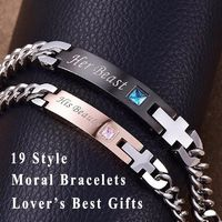 19 Style His and Hers Lover Bracelets Bangle Stainless Steel Matching Lettering Bracelets for Couple Women Men Jewelry Valentine $10.00