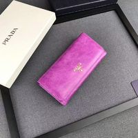 Prada 1M1132 Lettering Leather Wallet In Purple