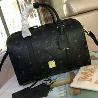 MCM Essential Visetos Boston Bag In Black