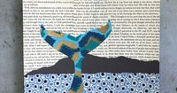 Humpback Whale Tail Original Collage, Decorative Paper Collage Over Vintage Book Pages, Ikat Whale Tail Over a Blue Ocean