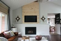 framed out & planked TV wall. Nice way to hang tv above fireplace without it looking too obnoxious