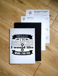Jean Baptise Brochure, Resume and covering letter in a A4 black envelope sealed with white wax