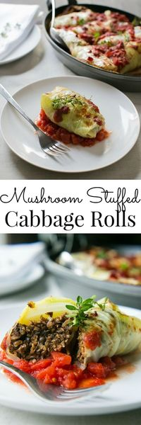 Packed with Umami flavor and nourishing ingredients, these Mushroom Stuffed Cabbage Rolls are a hearty main for all occasions. Vegan.