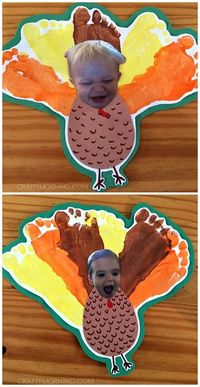 Silly Personalized Footprint Turkey Thanksgiving Craft for Kids - Crafty Morning
