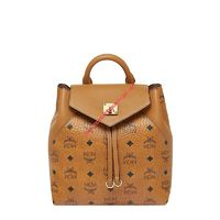 MCM SMALL ESSENTIAL VISETOS ORIGINAL BACKPACK IN BROWN